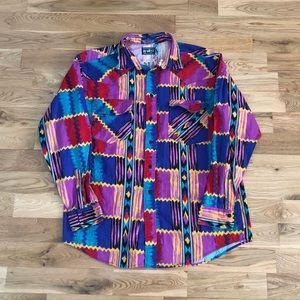 Vintage 90's Geometric Patterned Button Down Shirt